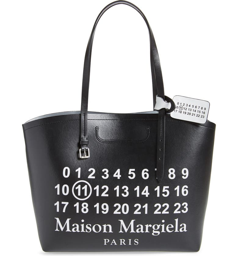 MAISON MARGIELA Logo Leather Shopping Tote with Pouch, Main, color, BLACK