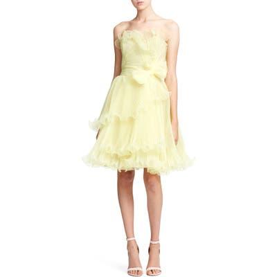 Marchesa Ruffle Trim Pleated Strapless Organza Cocktail Dress, Yellow