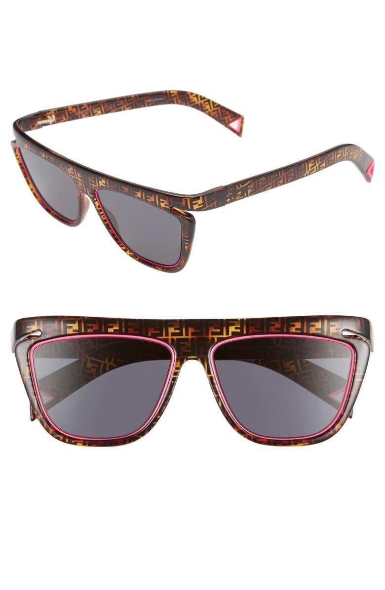 FENDI 55mm Flat Top Sunglasses, Main, color, HAVA PINK/ GREY BLUE