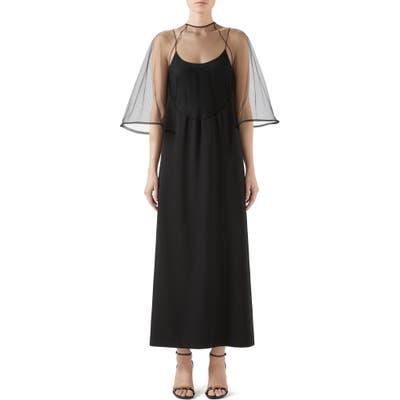 Gucci Sheer Mesh & Faille Gown, US - Black