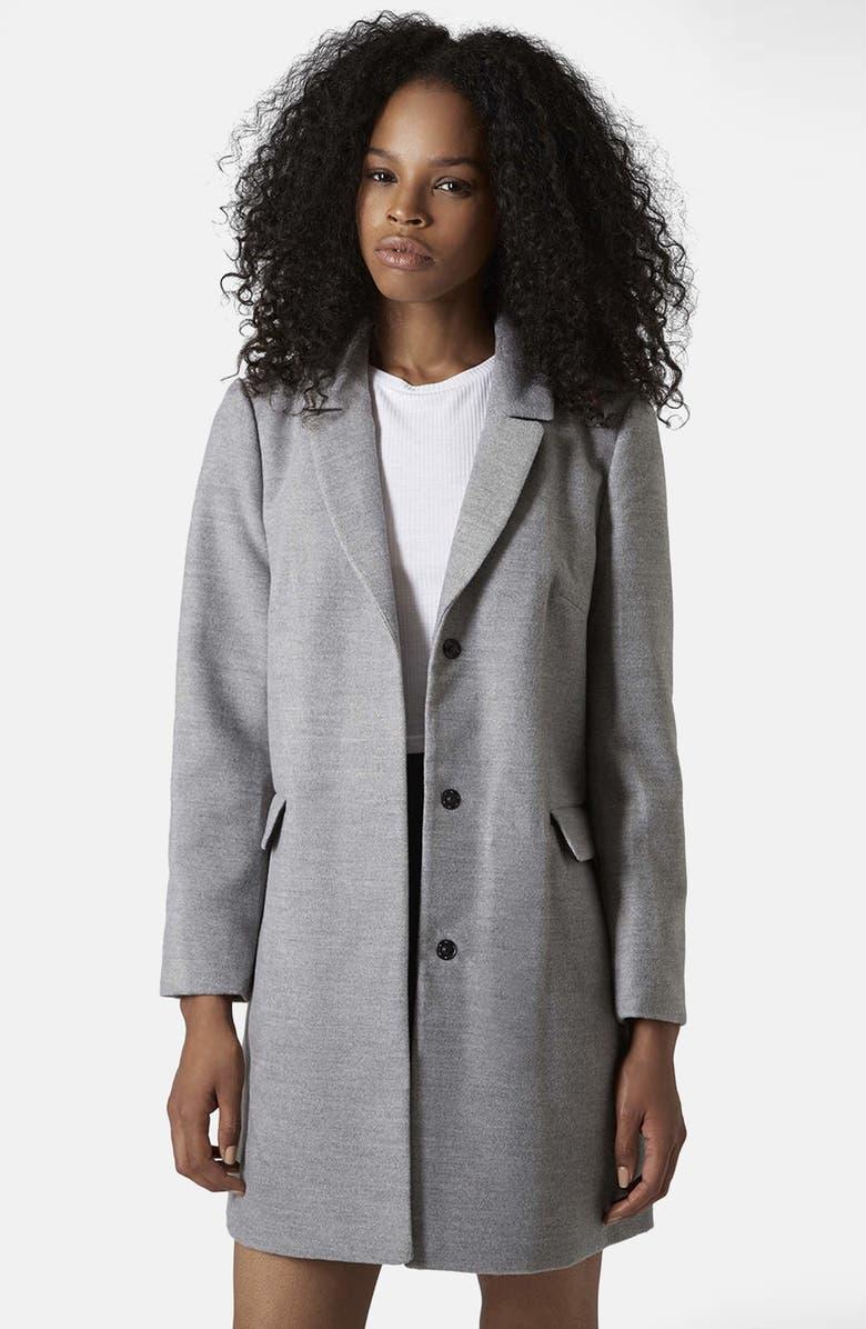 TOPSHOP 'Maisie' Slim Brushed Coat, Main, color, 020