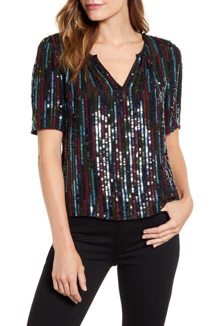 Image of Velvet by Graham & Spencer Multicolor Sequin Short Sleeve Top
