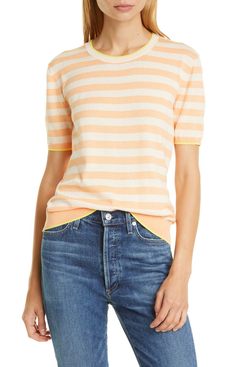 LA LIGNE Fitted Stripe Cotton Sweater Tee, Main, color, TONAL PEACH/ LEMON