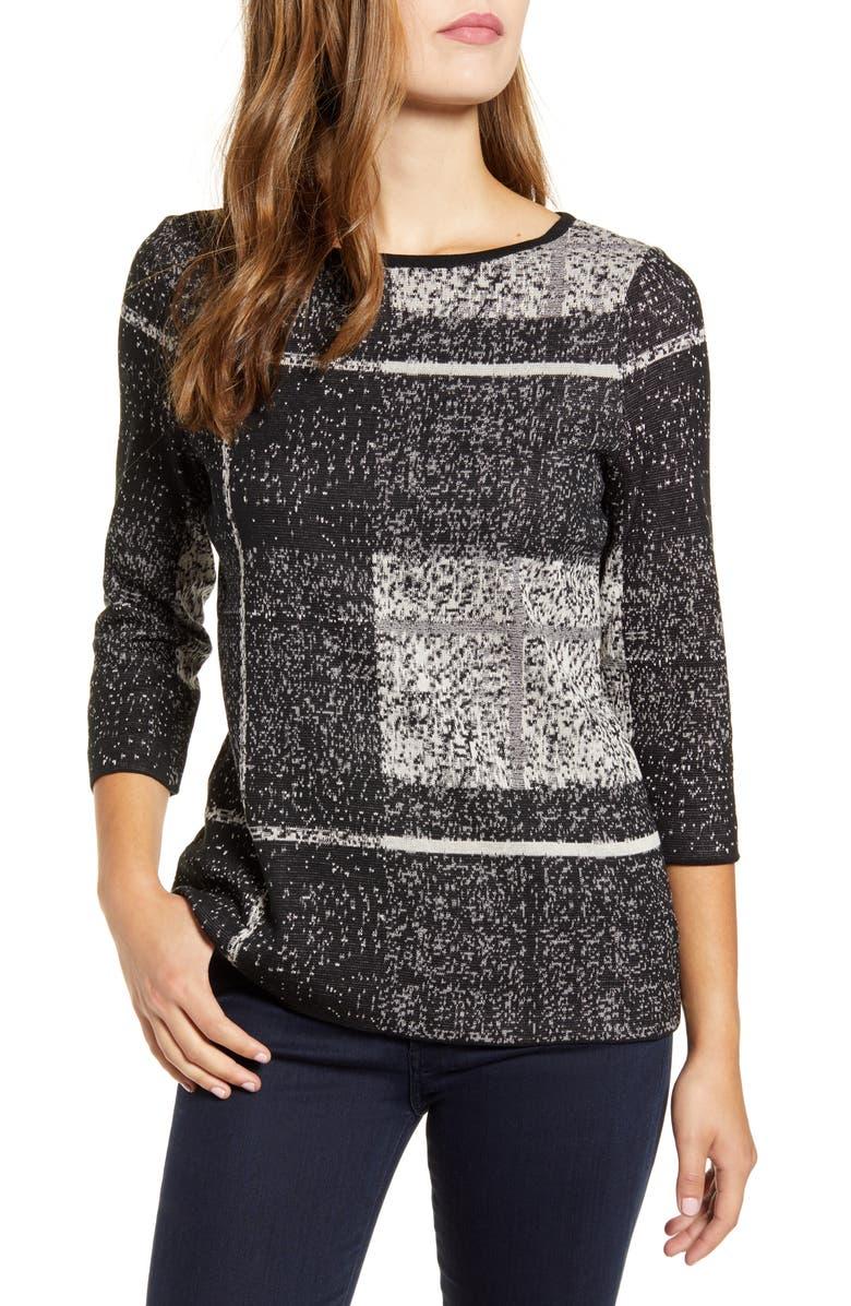 MING WANG Tunic Sweater, Main, color, BLACK/ MINERAL GREY/ SANDBANK