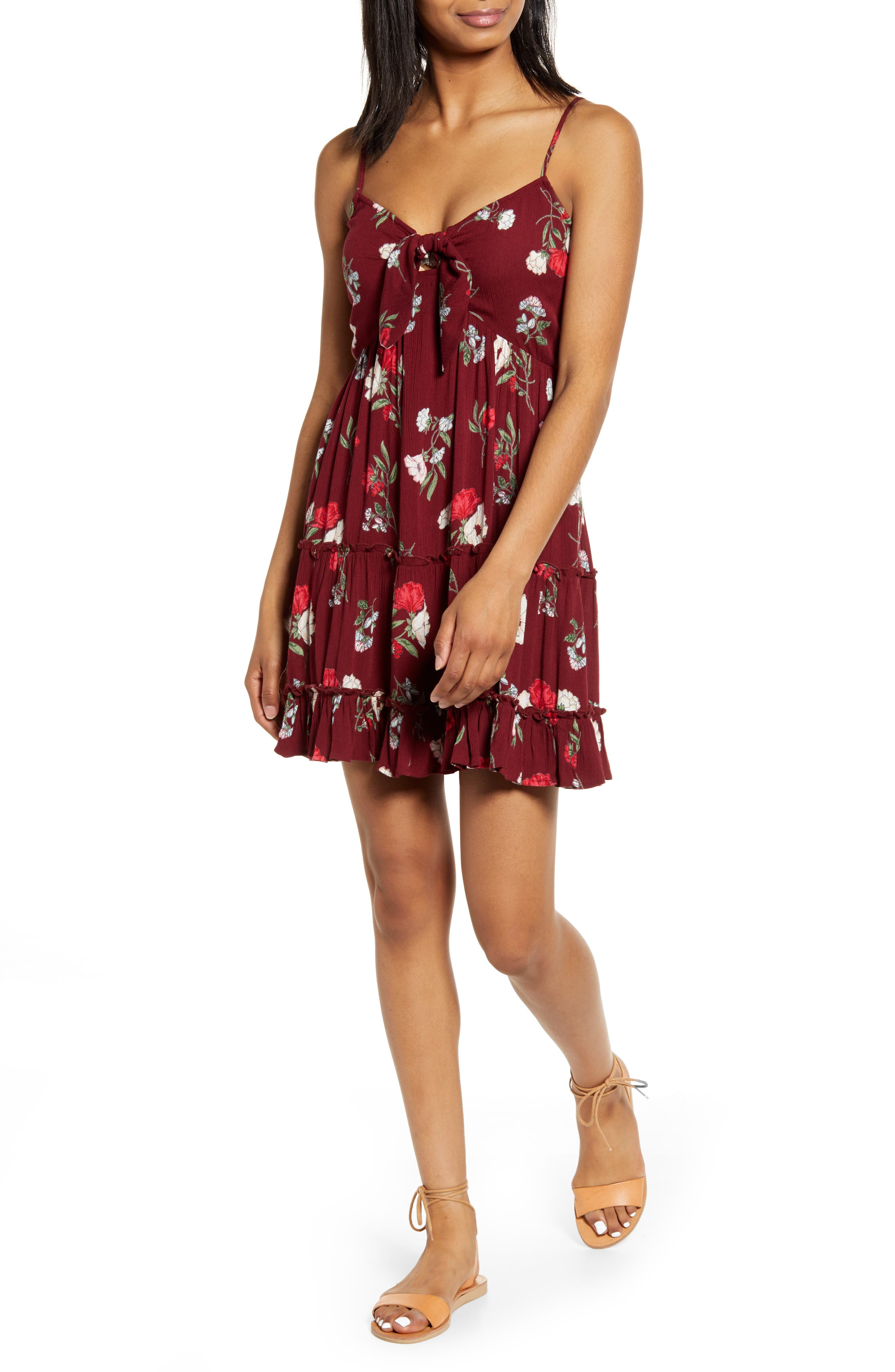 ,                             Floral Print Tie Front Dress,                             Main thumbnail 1, color,                             BURGUNDY/ RED