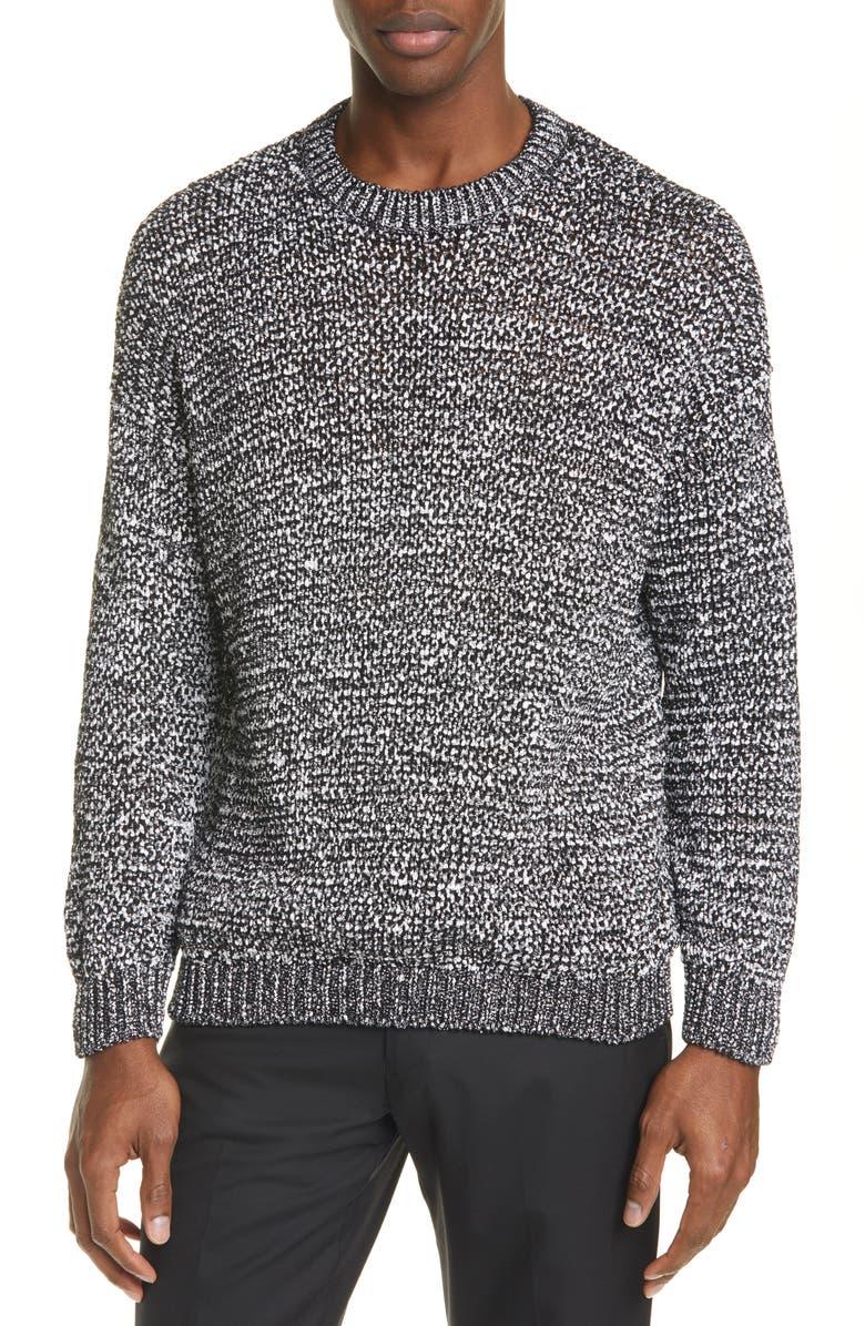 LOEWE Marled Sweater, Main, color, BLACK WHITE