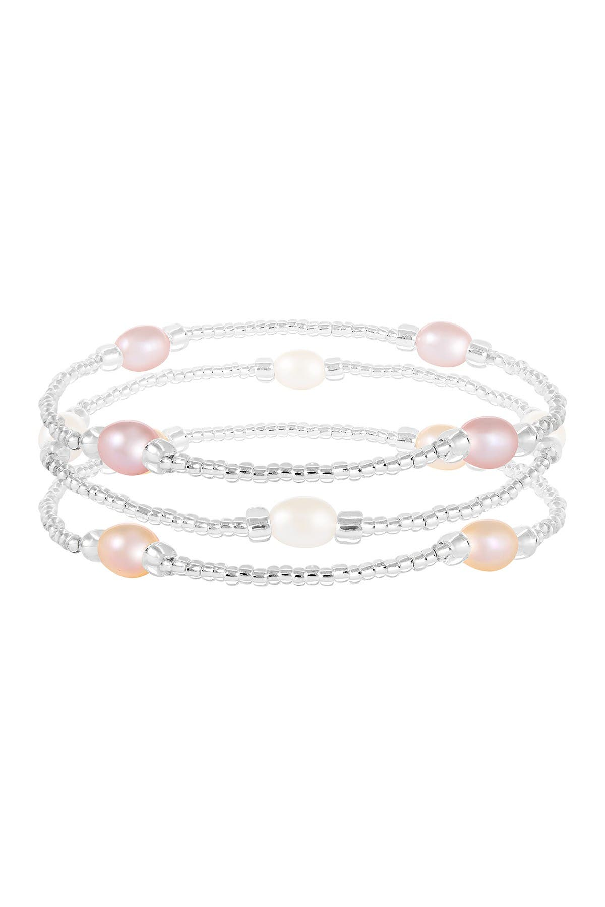 Image of Splendid Pearls Multicolor Cultured Freshwater Pearl Beaded Bracelet - Set of 3