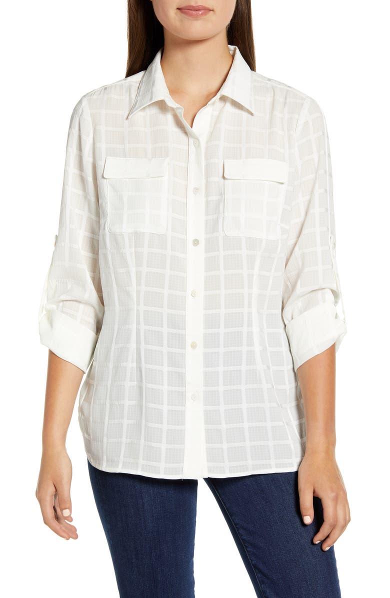 MING WANG Tonal Windowpane Plaid Button-Up Shirt, Main, color, 100