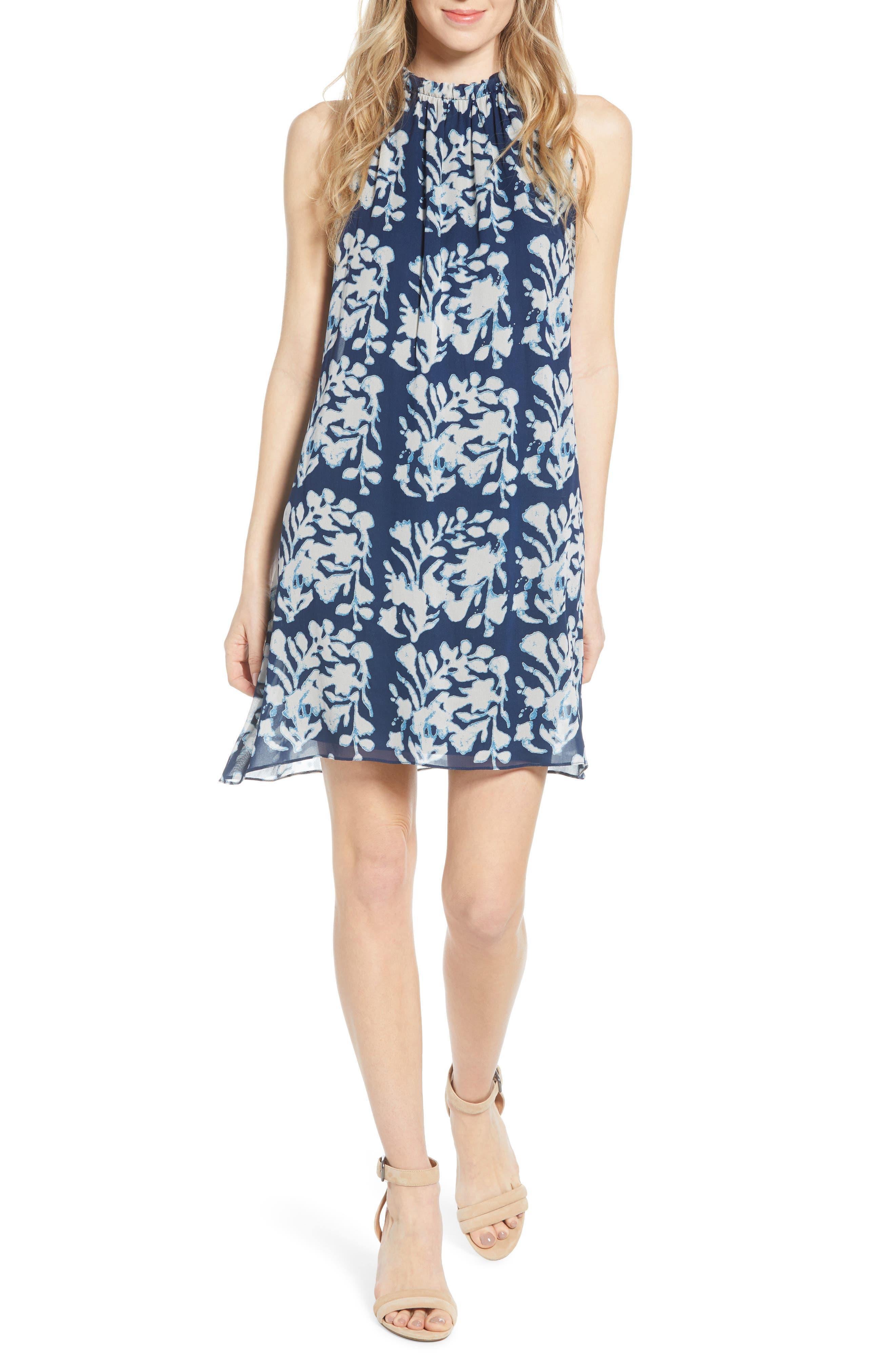 Bailey 44 Andros Batik Sleeveless Shift Dress, Blue
