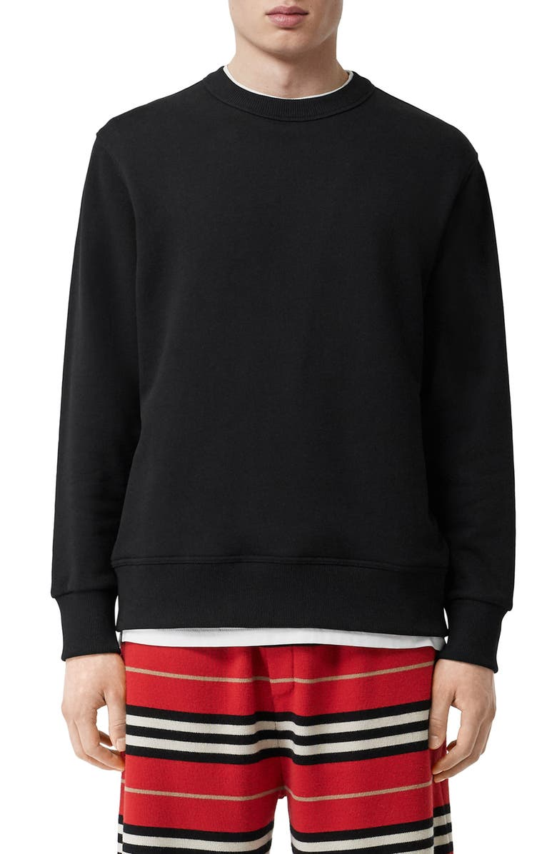 BURBERRY Acklow Horseferry Print Zip Pocket Sweatshirt, Main, color, BLACK