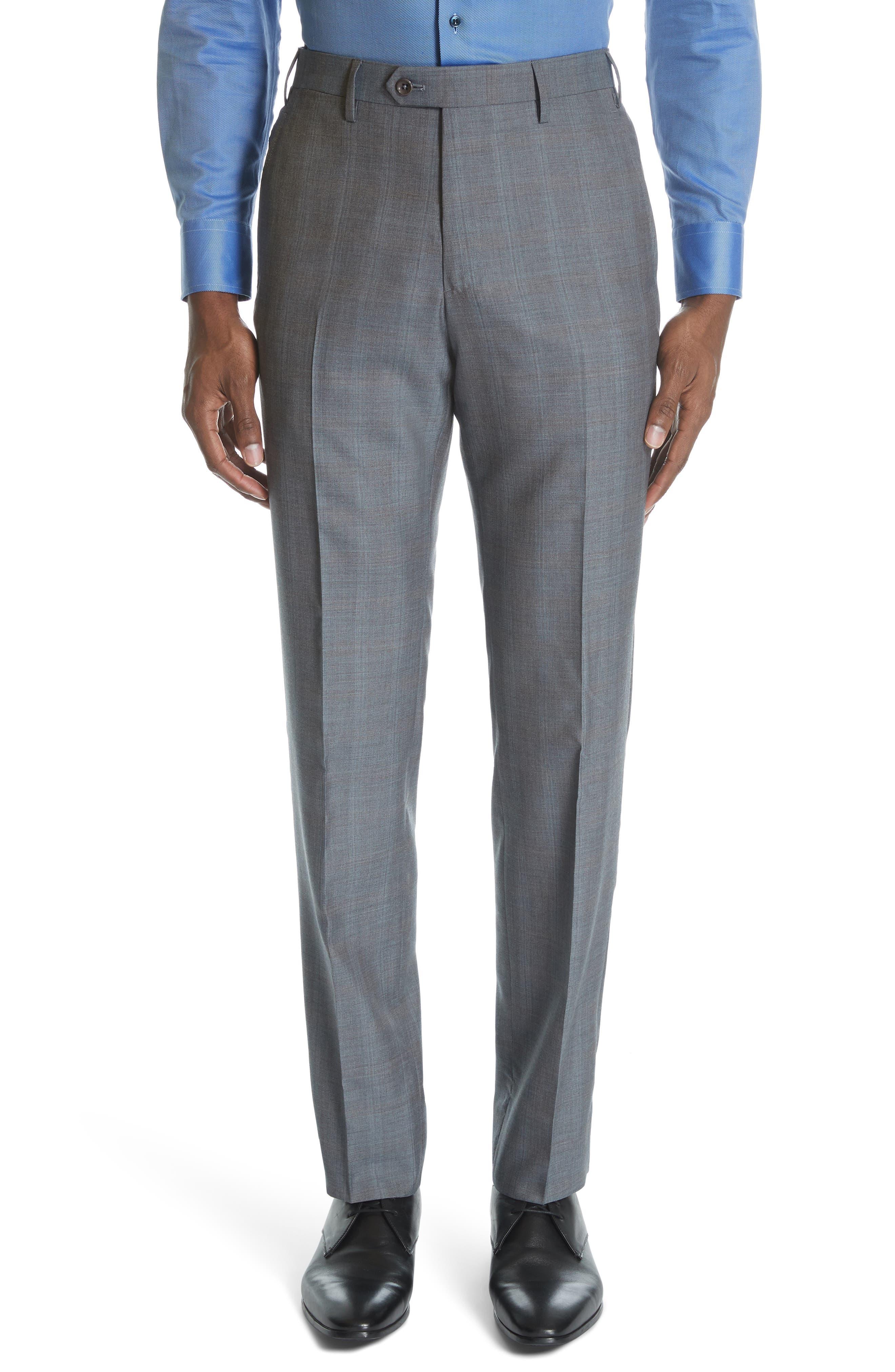 ,                             Classic Fit Plaid Wool & Silk Suit,                             Alternate thumbnail 6, color,                             GREY