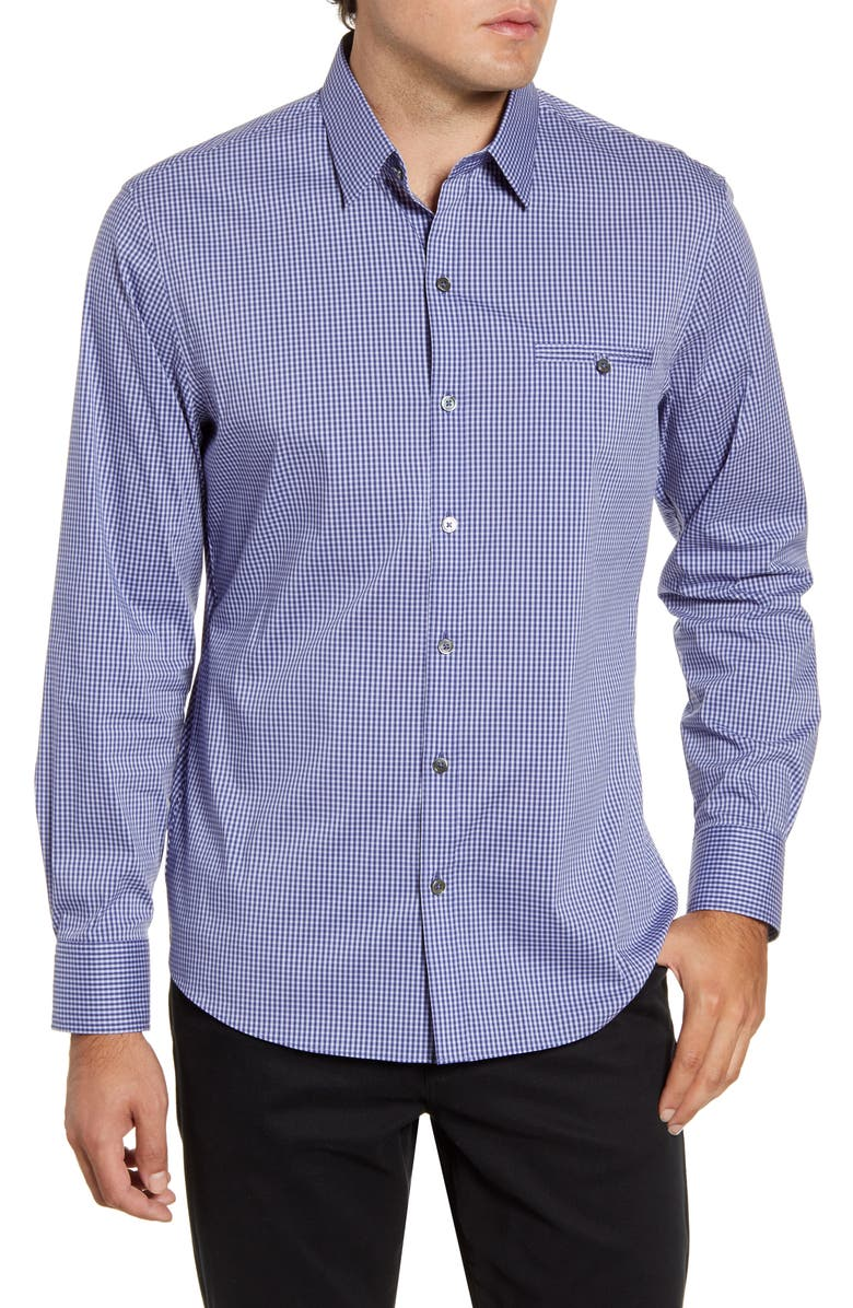 ZACHARY PRELL Ozekin Regular Fit Check Button-Up Sport Shirt, Main, color, LT GRAPE