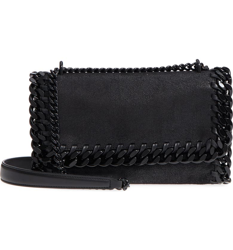 STELLA MCCARTNEY Falabella Shaggy Deer Faux Leather Shoulder Bag, Main, color, BLACK