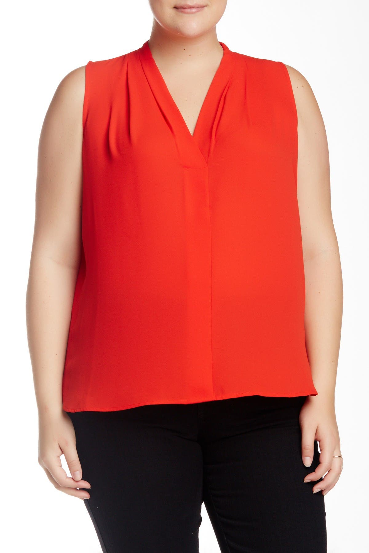Image of Vince Camuto Pleated V-Neck Blouse