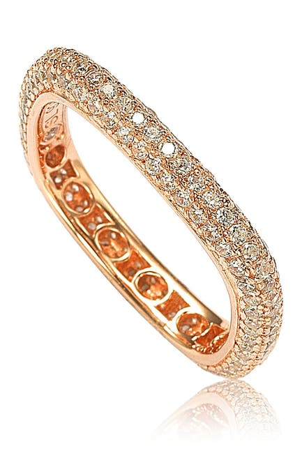 Image of Suzy Levian 14K Rose Gold Plated Sterling Silver Square Stackable Eternity Band Ring