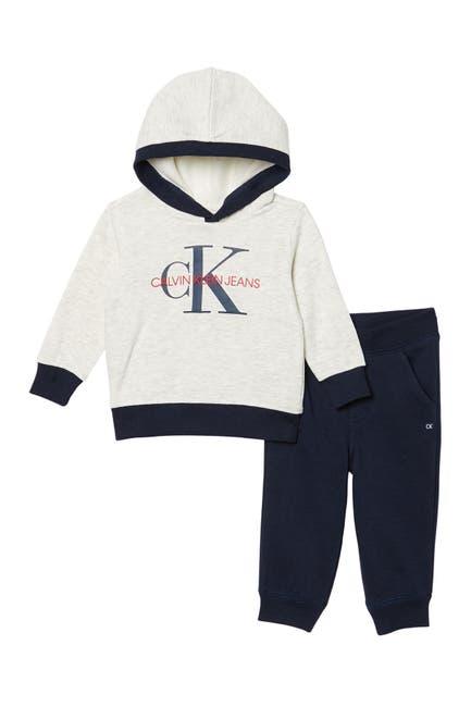 Image of Calvin Klein Fleece Pullover Hoodie & Joggers 2-Piece Set