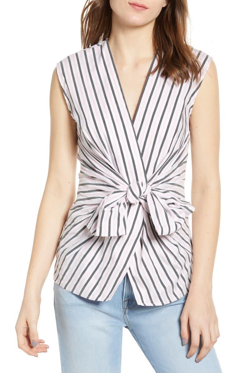 BAILEY 44 Tarte Stripe Bow Front Stretch Cotton Blouse, Main, color, 100