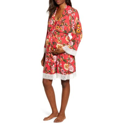 Angel Maternity Nursing/maternity Nightgown, Robe & Baby Wrap, Red