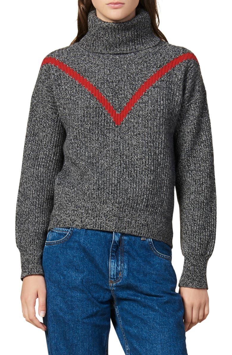 SANDRO Line Turtleneck Marled Wool Blend Sweater, Main, color, 020