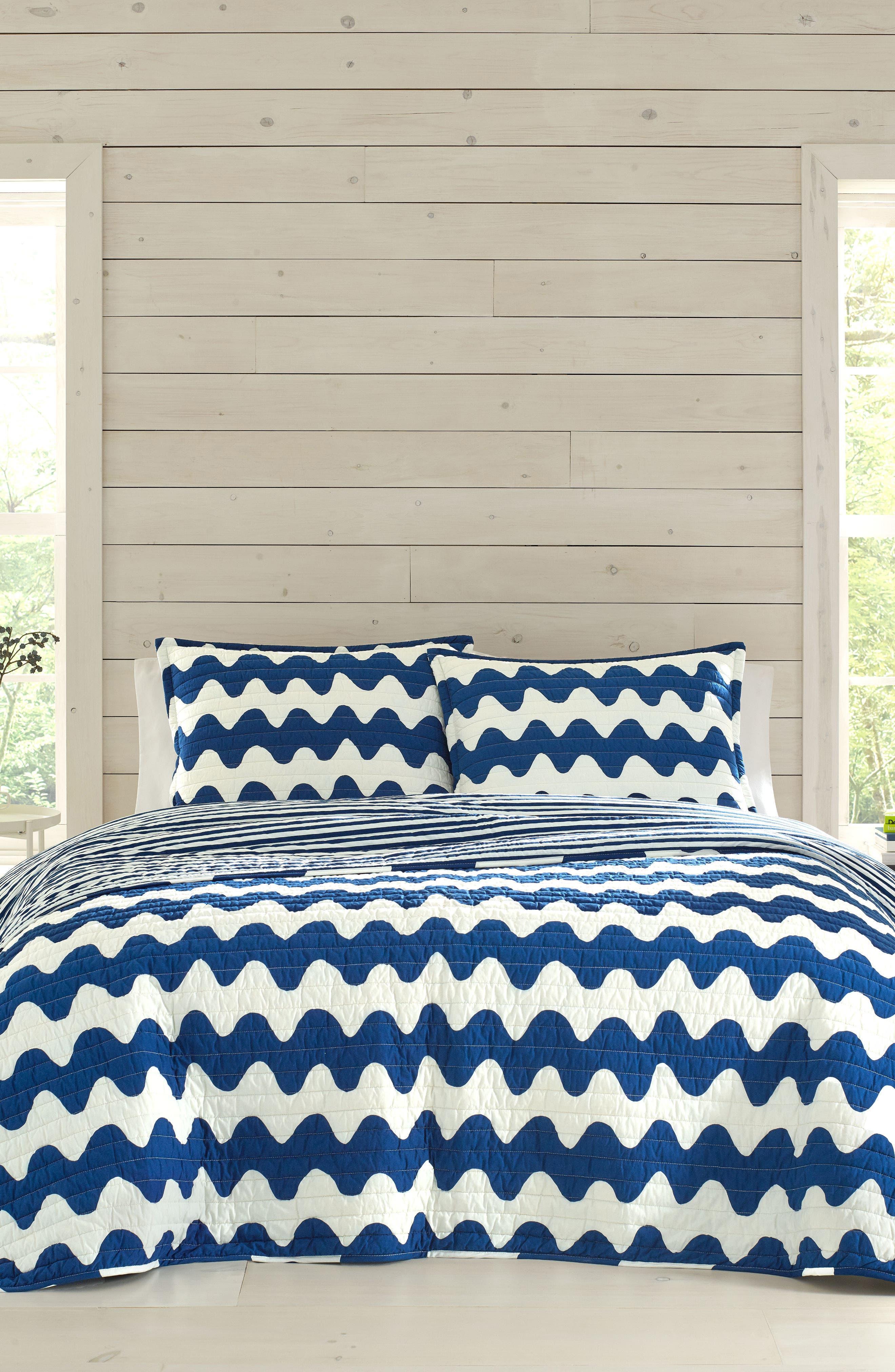 Pikku Lokki Quilt & Sham Set, Main, color, BLUE
