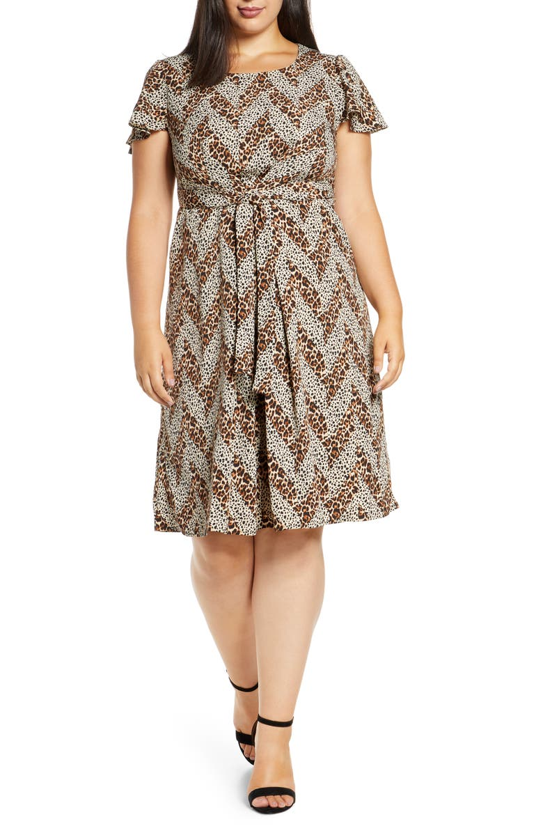 BOBEAU Carmen Pleated Woven Dress, Main, color, ANIMAL CHEVRON