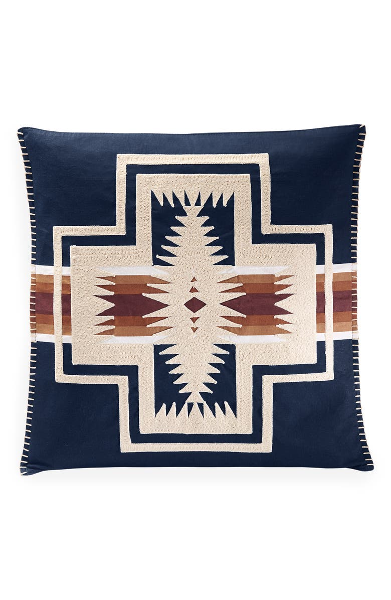 PENDLETON Harding Embroidered Accent Pillow, Main, color, NAVY