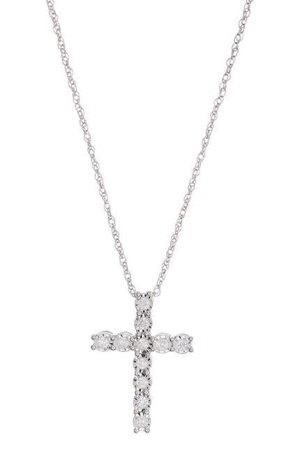 Image of Effy Sterling Silver Diamond Cross Pendant Necklace - 0.24 ctw