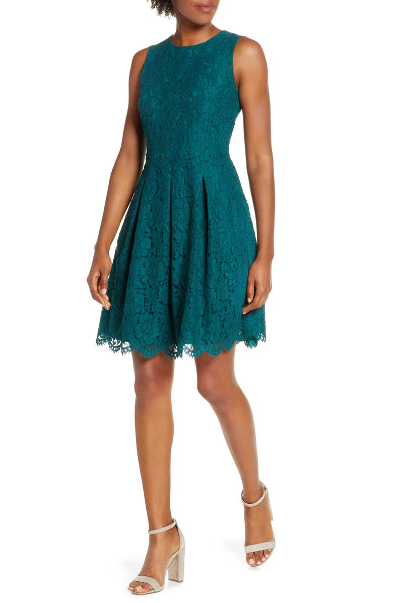 VINCE CAMUTO Sleeveless Lace Fit & Flare Dress, Main, color, PINE