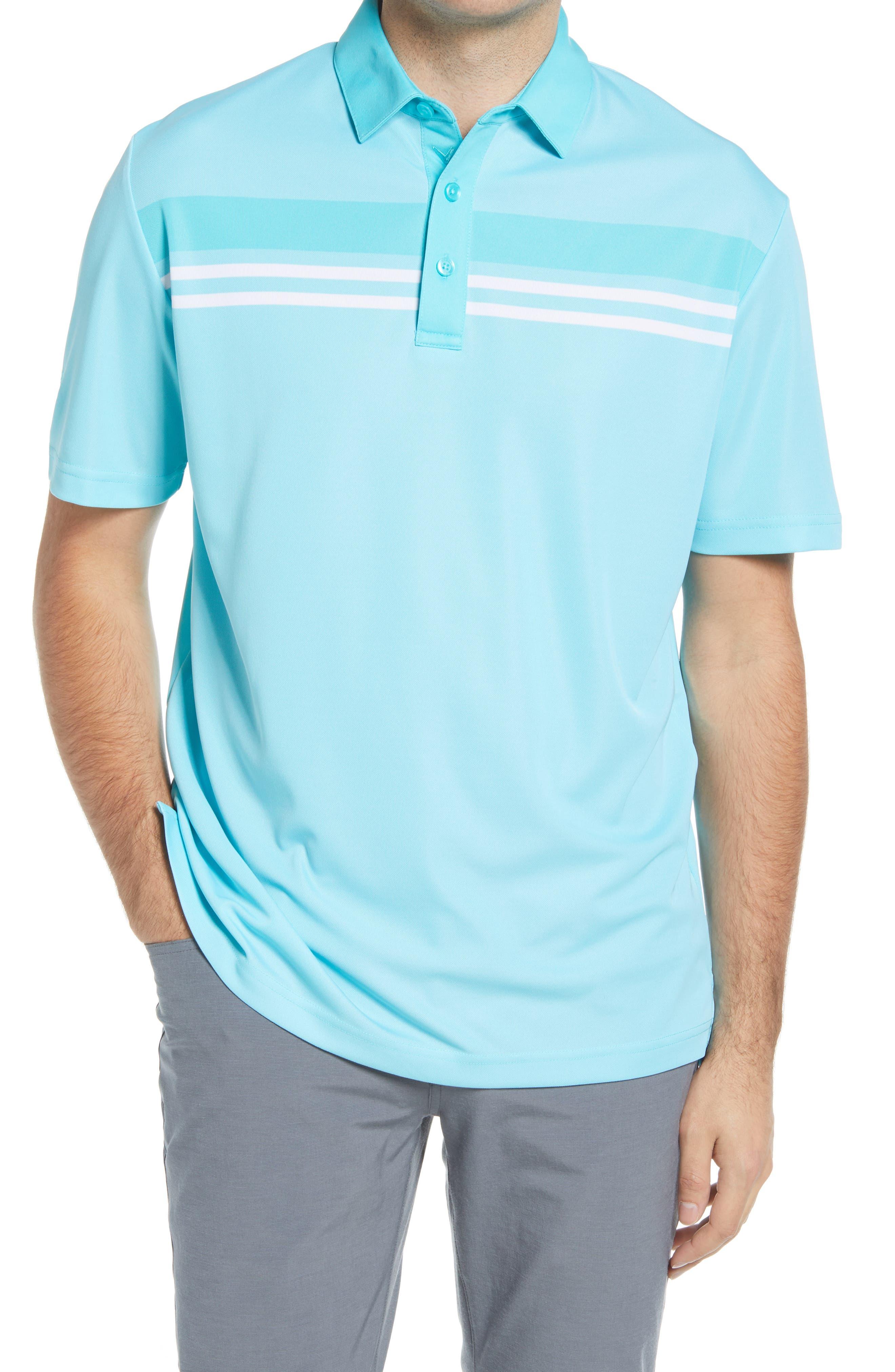 Men's Callaway Golf Birdseye Stripe Performance Gold Polo