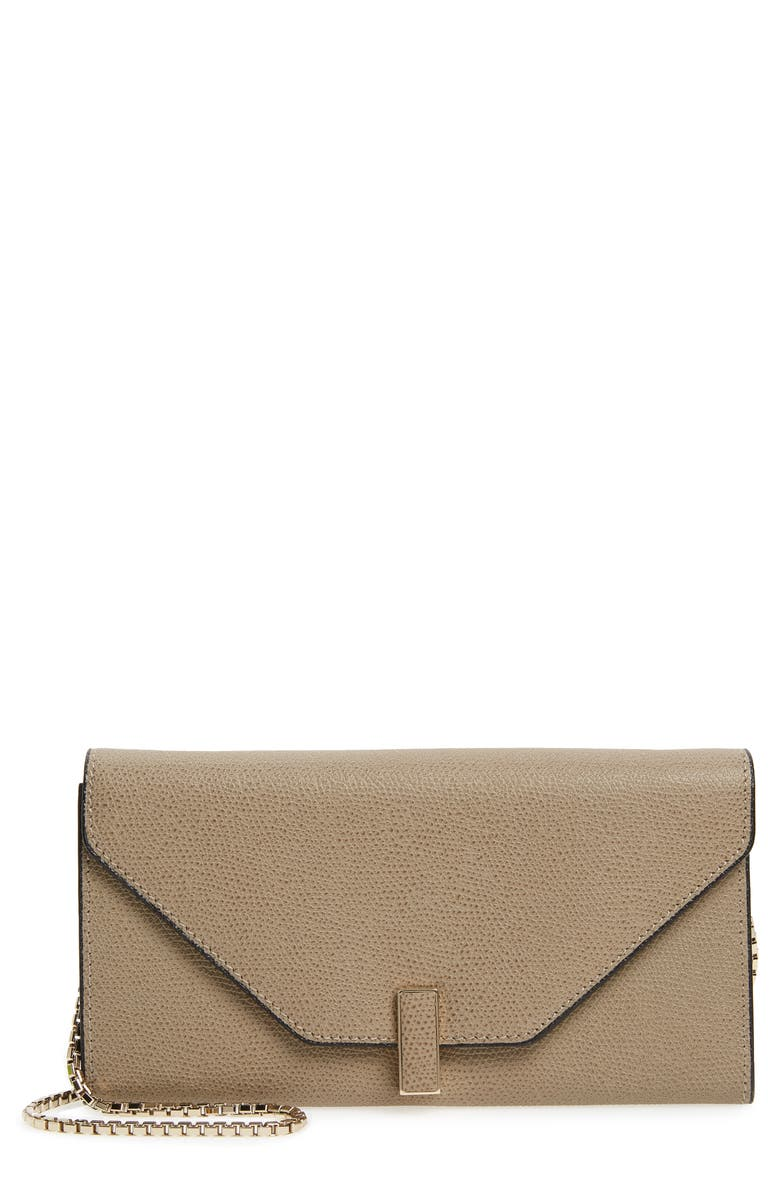 VALEXTRA Iside Leather Continental Wallet on a Chain, Main, color, OYSTER