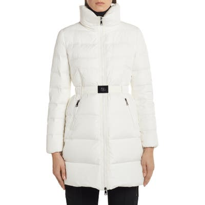 Moncler Accenteur Belted Quilted Down Puffer Coat, (fits like 6-8 US) - White