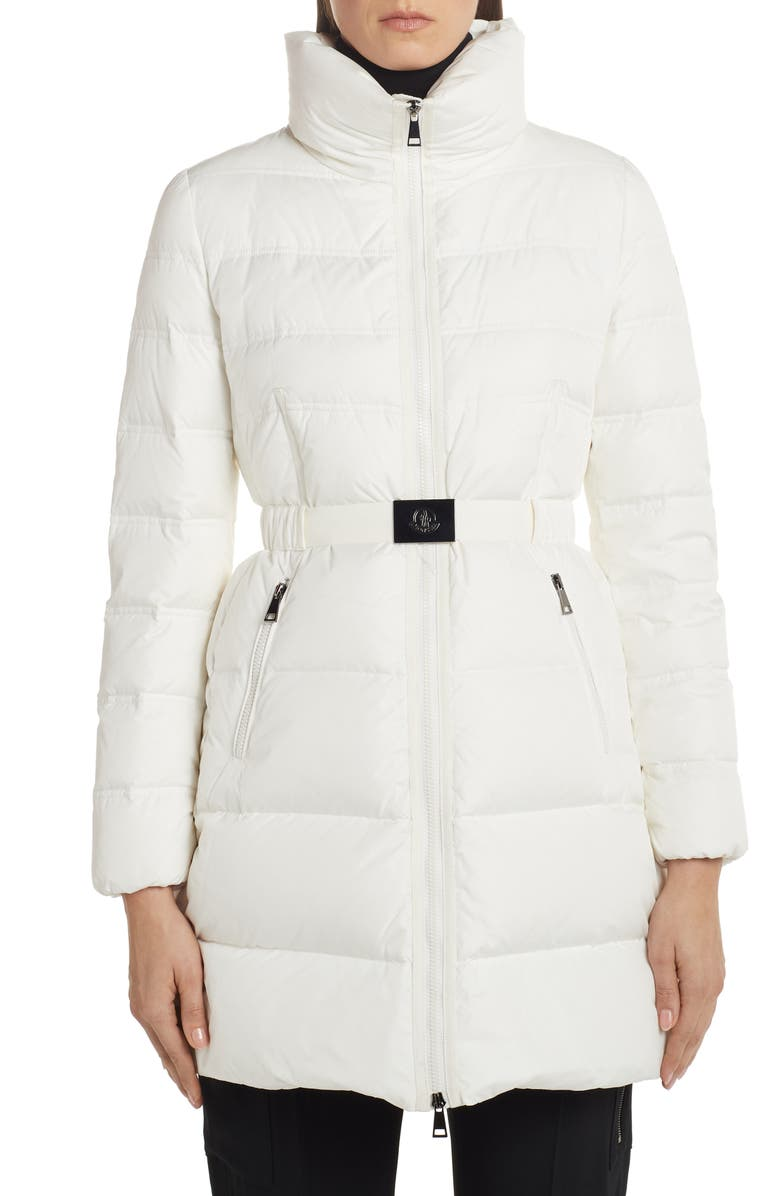 MONCLER Accenteur Belted Quilted Down Puffer Coat, Main, color, WHITE