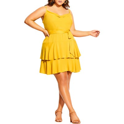 Plus Size City Chic Mini Frill Dress, Yellow