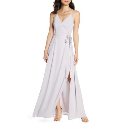Wayf The Angelina Slit Wrap Gown, Purple