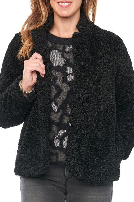 Image of Democracy Long Sleeve Shearling Faux Fur Jacket With Stand Collar