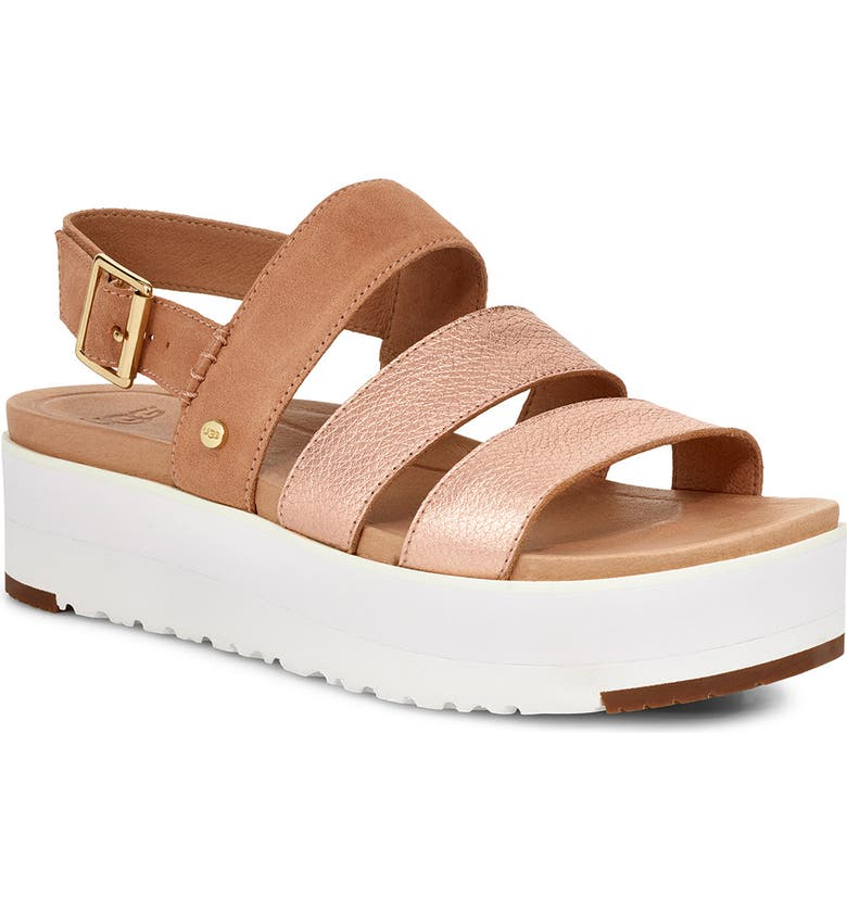 UGG<SUP>®</SUP> Braelynn Flatform Sandal, Main, color, ROSE GOLD LEATHER
