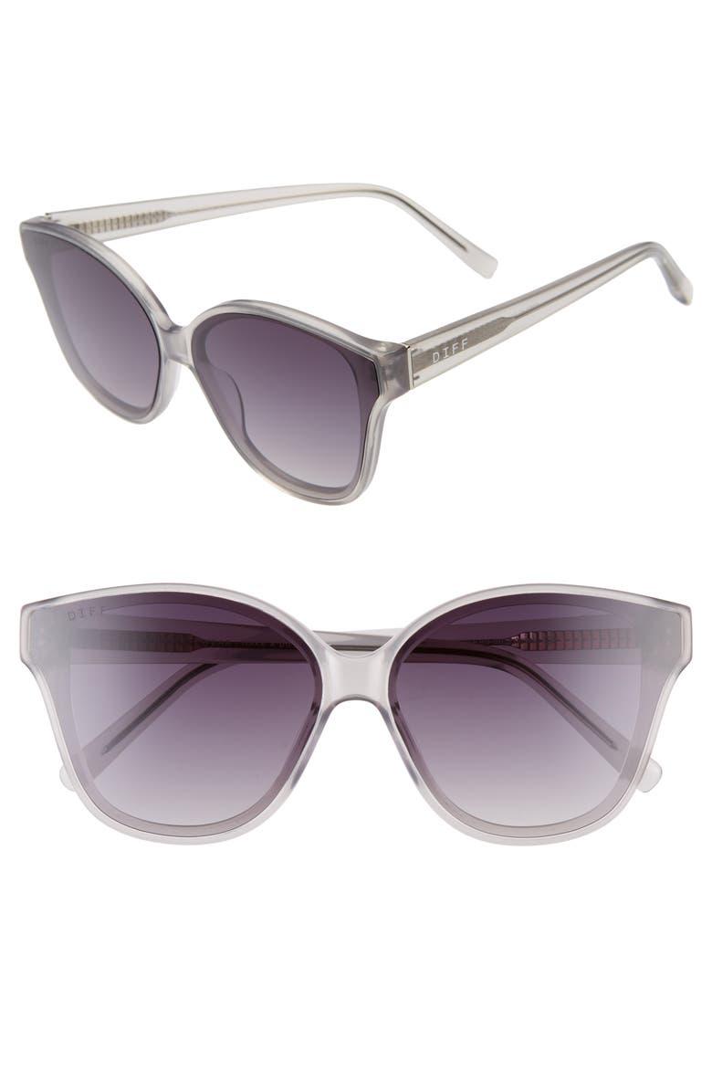 DIFF Piper 64mm Oversize Cat Eye Sunglasses, Main, color, HAZY GREY/ GREY