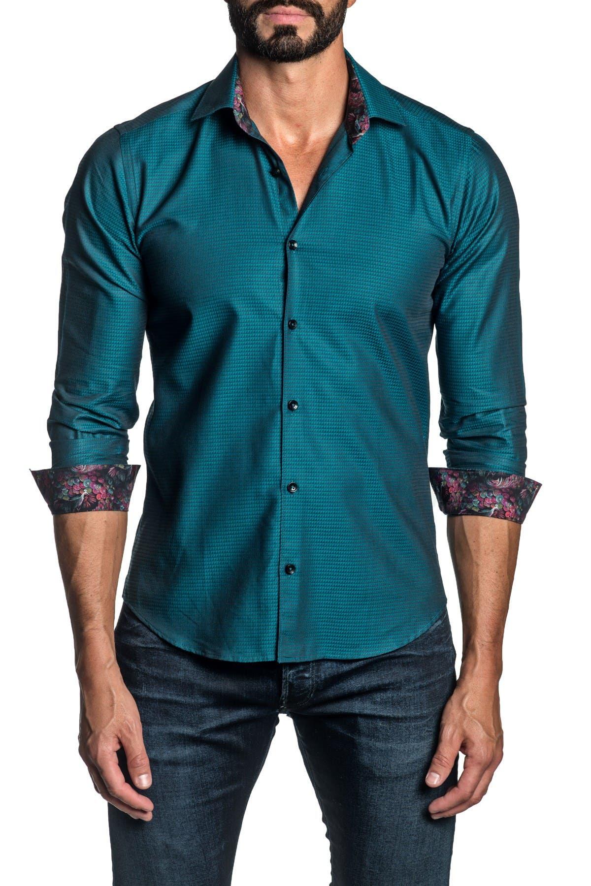 Jared Lang TRIM FIT GREEN TEAL JACQUARD DRESS SHIRT