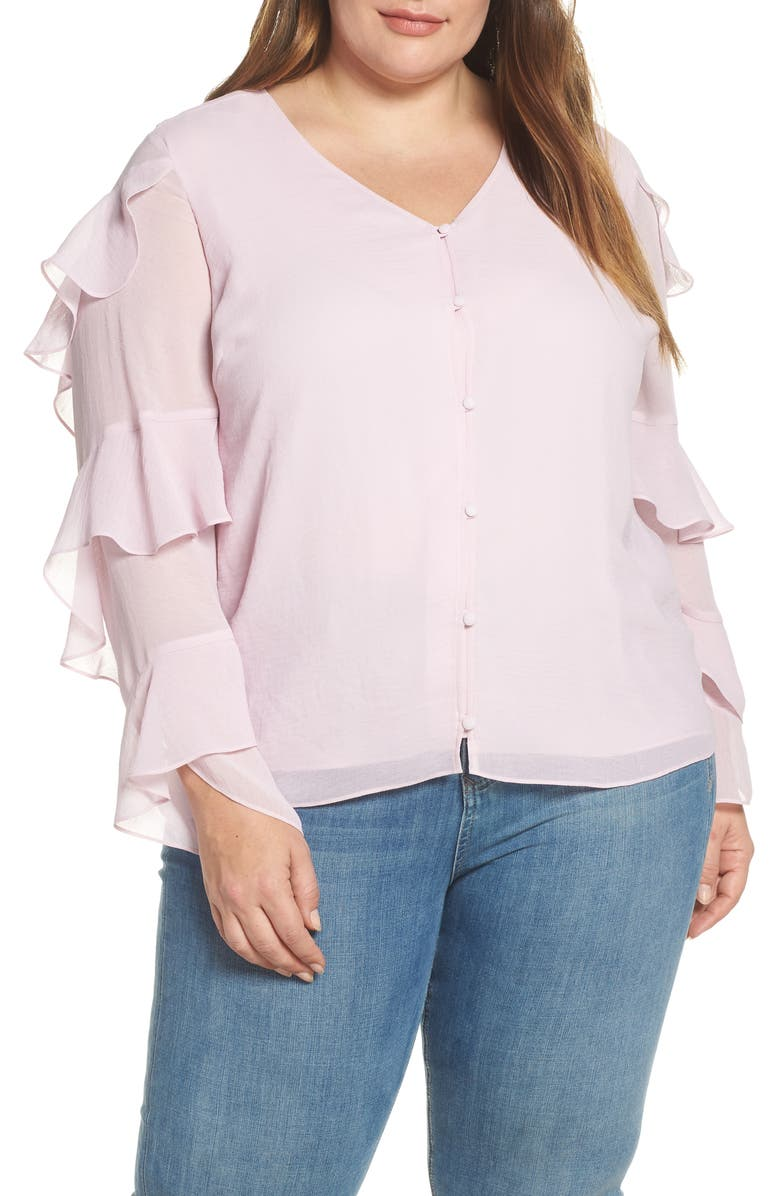 VINCE CAMUTO Tiered Sleeve Button Chiffon Top, Main, color, 651