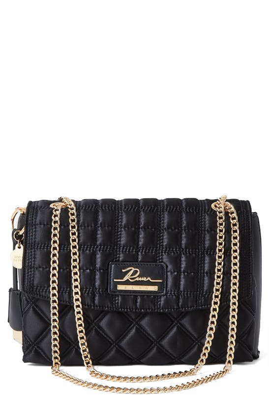 River Island Quilted Satchel Bag In Black