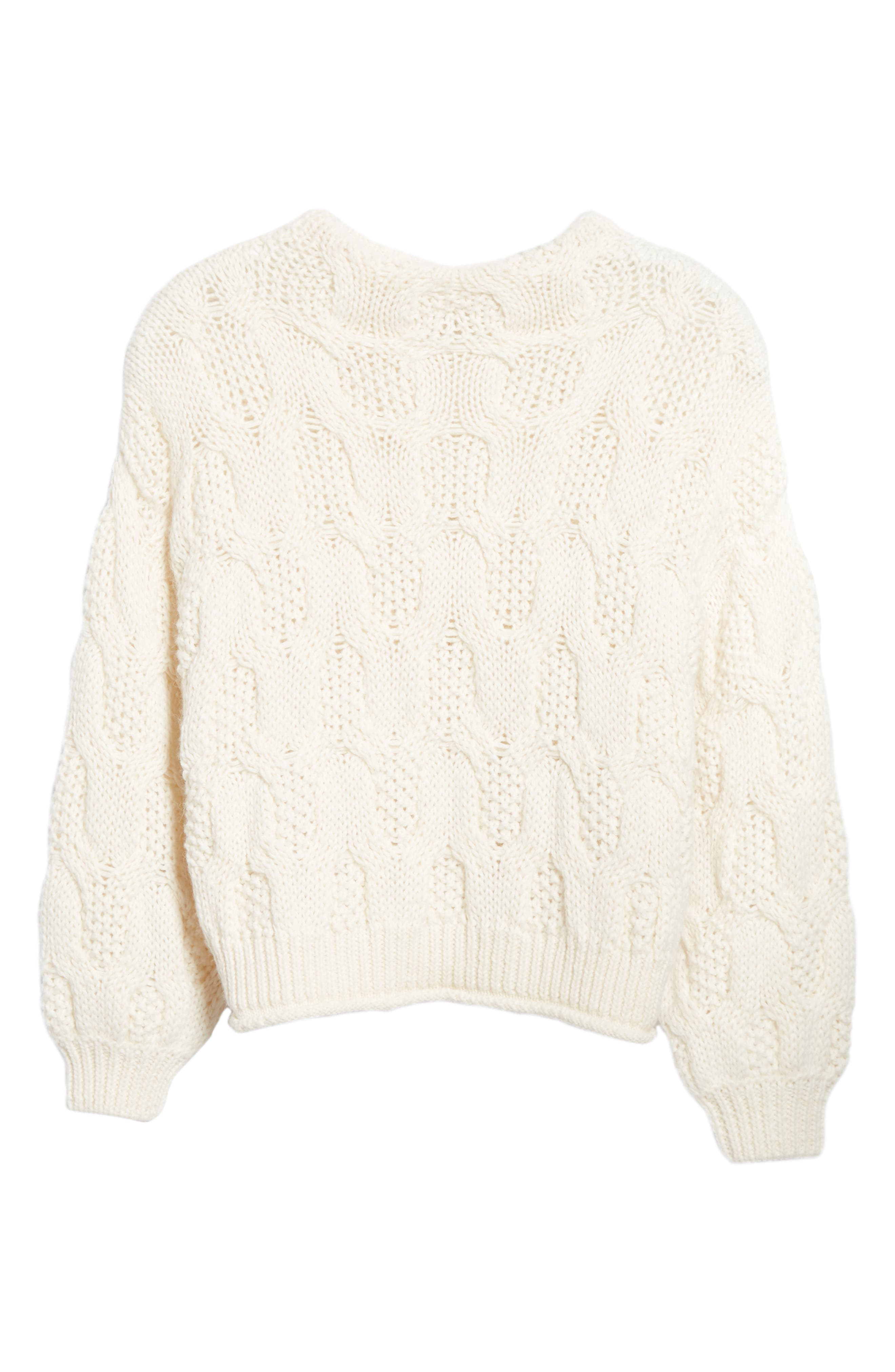,                             Cable Knit Alpaca Wool Blend Sweater,                             Alternate thumbnail 6, color,                             900
