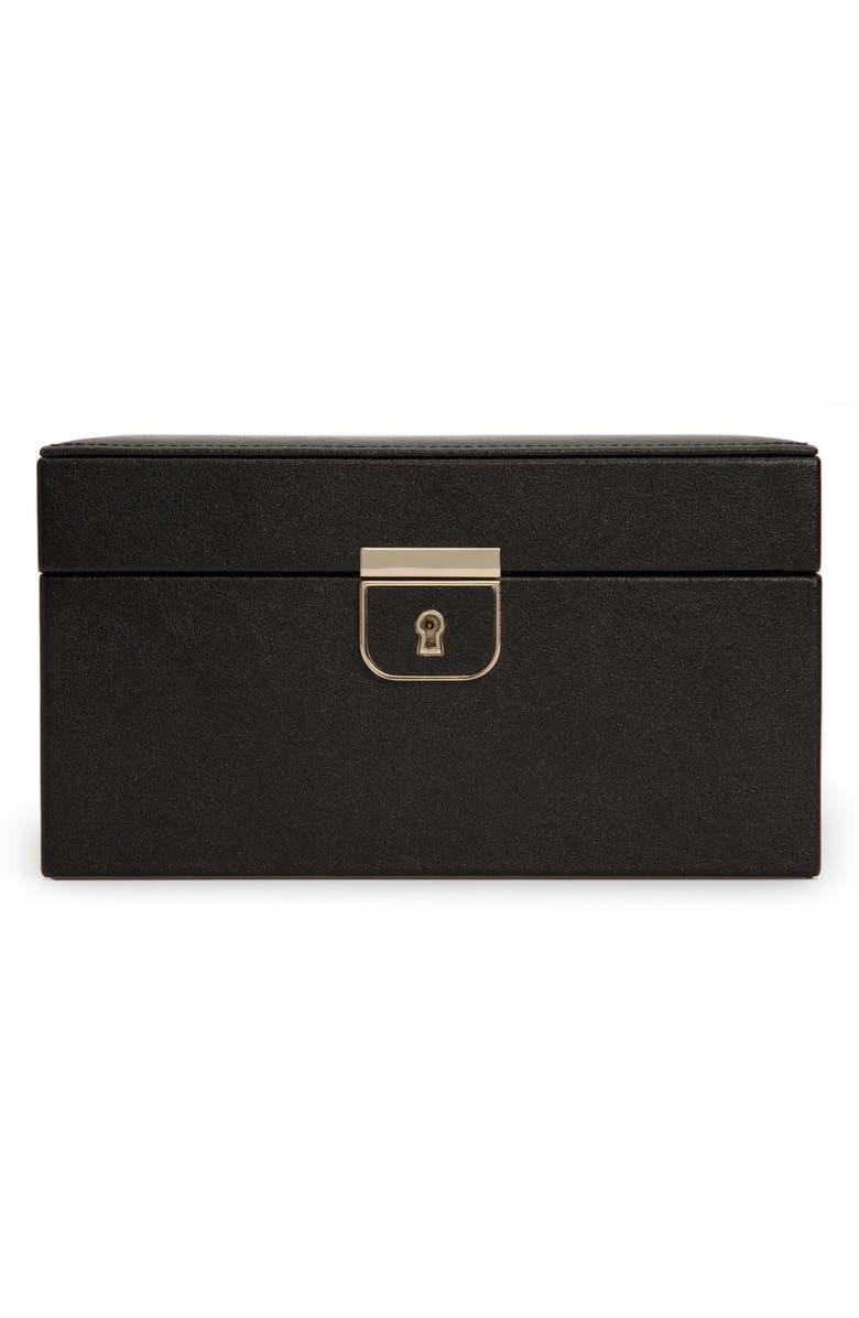 WOLF Palermo Small Jewelry Box, Main, color, BLACK