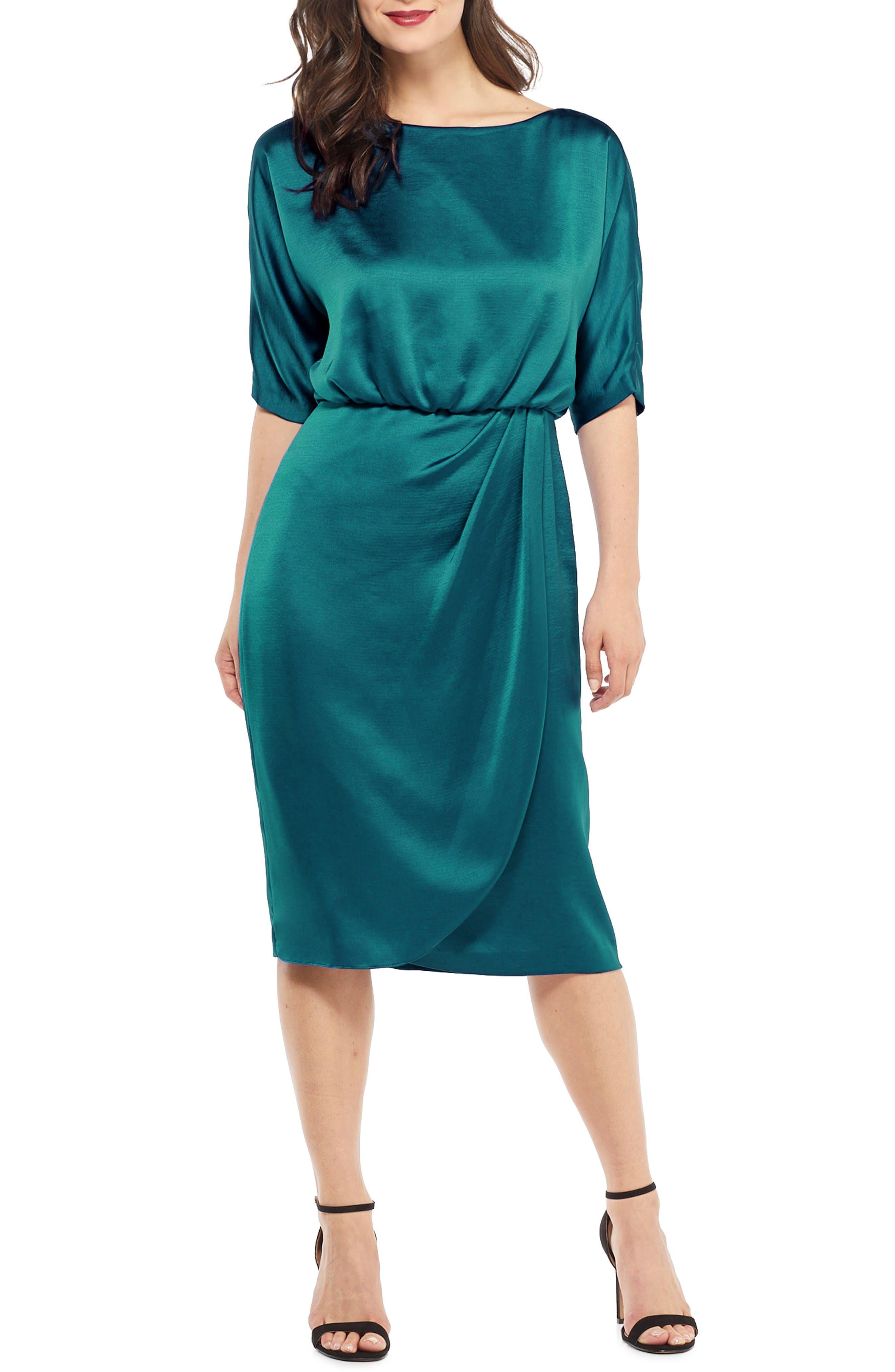 Vintage Cocktail Dresses, Party Dresses, Prom Dresses Womens Maggy London Draped Blouson Dress Size 14 - Blue $82.80 AT vintagedancer.com