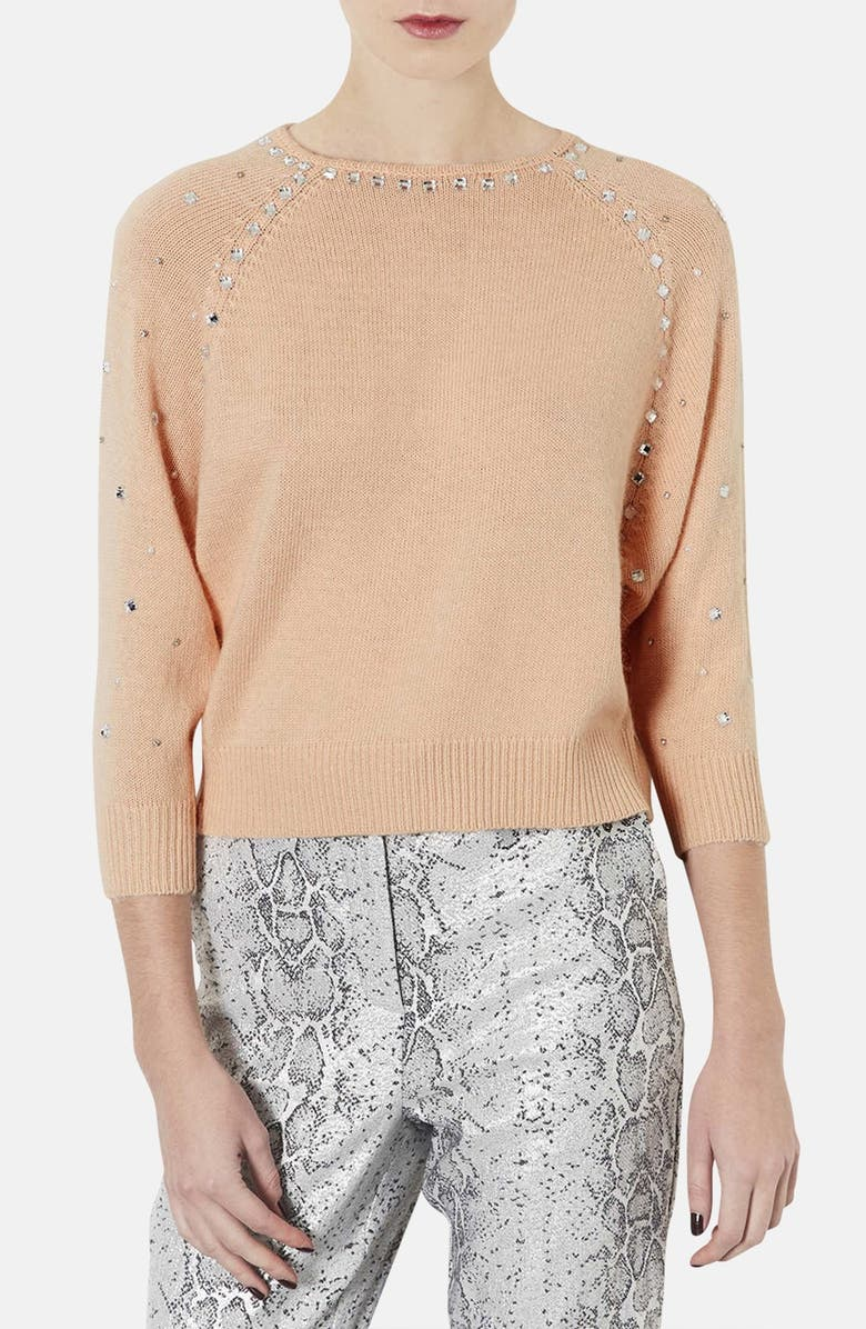 TOPSHOP Embellished Sweater, Main, color, 950