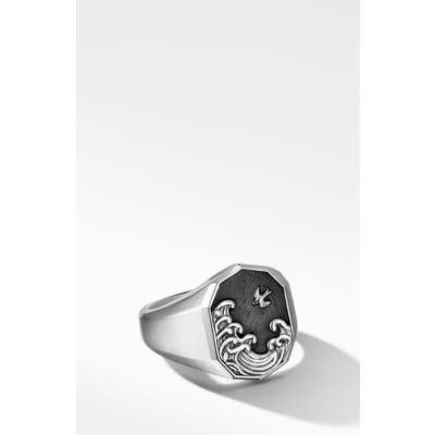 David Yurman Waves Signet Ring With Forged Carbon