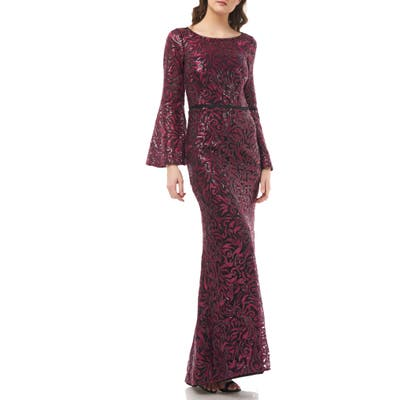 Carmen Marc Valvo Infusion Sequin Embroidered Trumpet Gown, Red