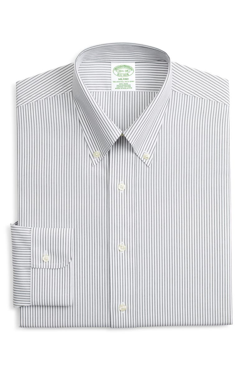 BROOKS BROTHERS Milano Trim Fit Non-Iron Stripe Dress Shirt, Main, color, STPGREEN