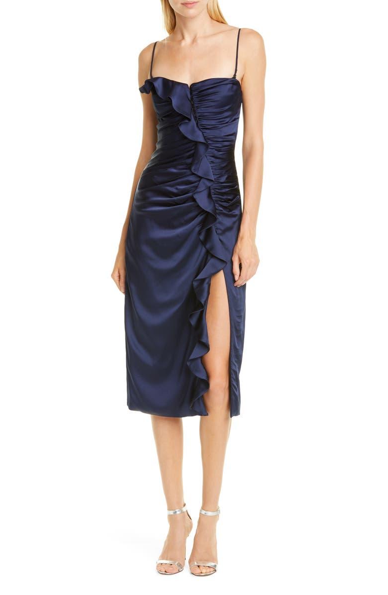 JONATHAN SIMKHAI Ruffle Bustier Dress, Main, color, MIDNIGHT