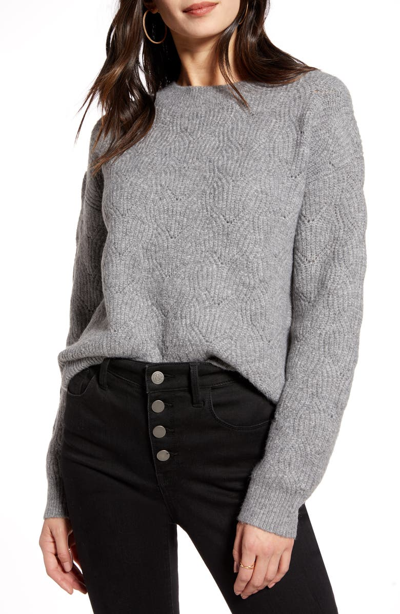 TREASURE & BOND Pointelle Stitch Pullover, Main, color, GREY LIGHT HEATHER