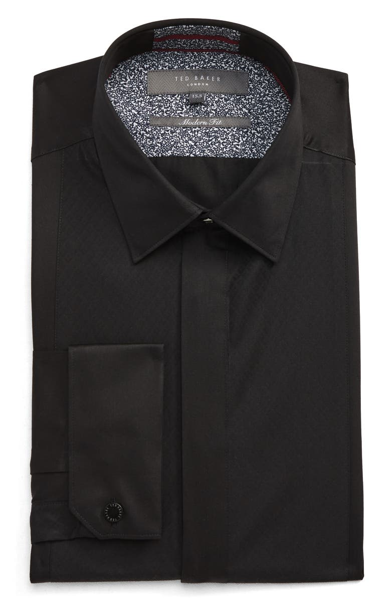 TED BAKER LONDON Modern Fit Solid Dress Shirt, Main, color, BLACK